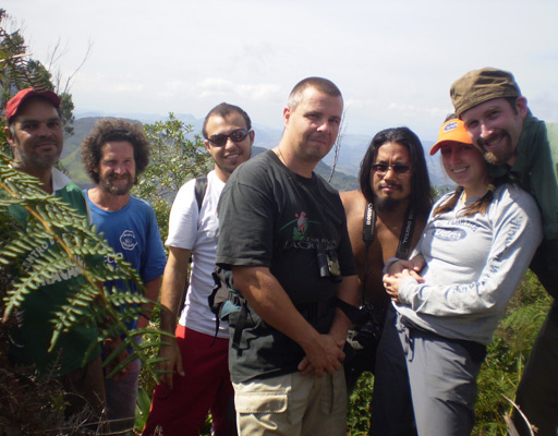 me leading a walk at Iracambi 2007, left to right Cloves (Brazil), Toni (Spain), Fabio (Brazil), Bryan (UK), Neil (UK), Alana (USA) and Blake (USA) (Lucy Jones UK)