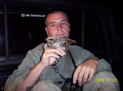 Bryan with White-winged Nightjar, Laguna Blanca, Paraguay